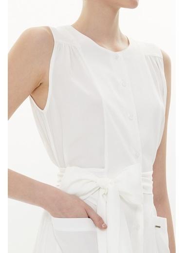 Societa Büzgülü kolsuz uzun  elbise 93373 Beyaz